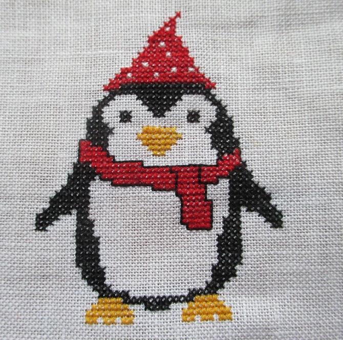 pingouin au point de croix