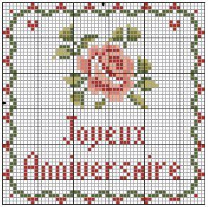 Rose anniversaire au point de croix